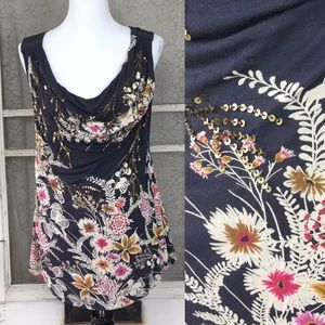 Anthropologie Wild Bunch Tank Deletta floral top M